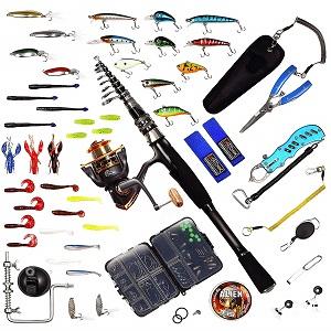 NatureBase 釣り 初心者 セット 釣り具セット シーバス釣り 釣り具セット コンパクトロッド パックロッド ルアーセット