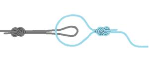チチワ結び道糸とハリスヨリモドシの結び方2