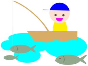 船釣りで青物ヒラメを狙うイラスト