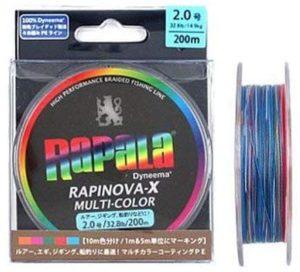 Rapala(ラパラ) PEライン ラピノヴァX マルチカラー 200m 4本編み 10m毎に5色分け RXC200M