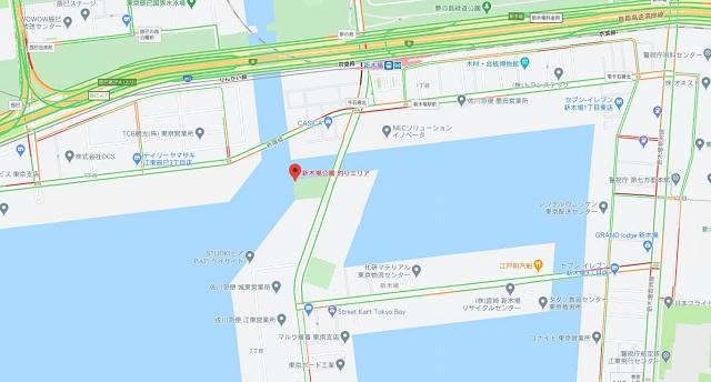 新木場公園釣りエリアグーグルマップ