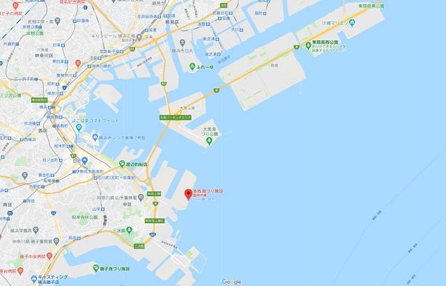 本牧海づり施設グーグルマップ