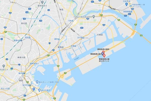 東扇島西公園グーグルマップ