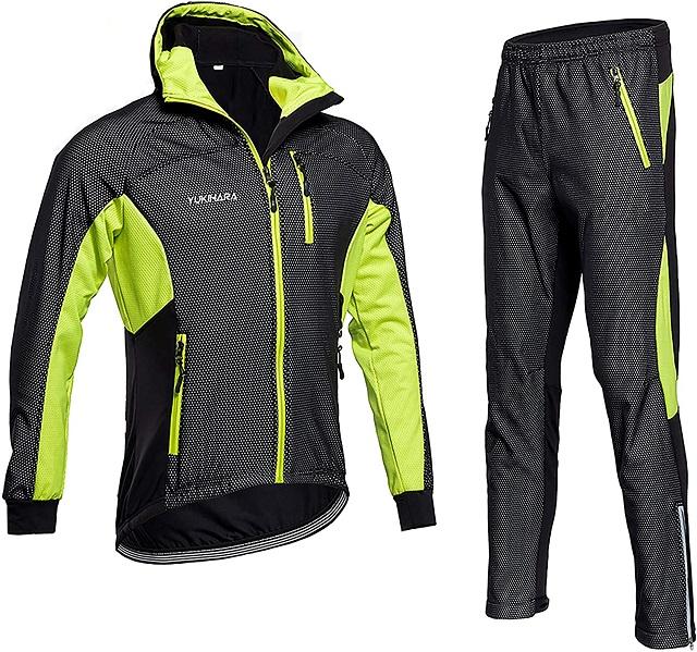 頭首回り完全防寒対策 秋冬用 防風 防寒 長袖 サイクルジャージ サイクルジャケット 上下セット