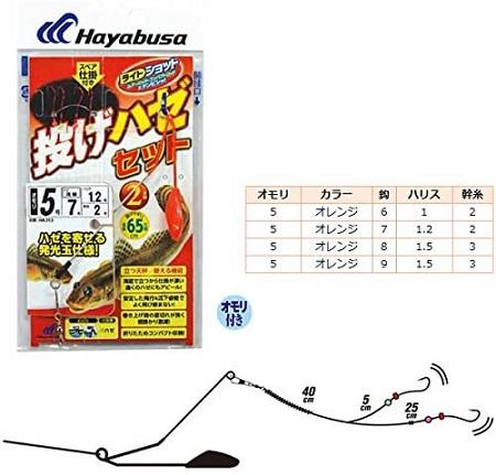 ハヤブサ(Hayabusa) ライトショット 投げハゼセット 立つ天秤 2本鈎 HA313 5号 7-1.2-2