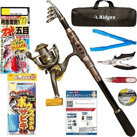 Ridgex 釣りセット 初心者向け サビキ釣り ちょい投げ釣り 仕掛け付き カーボンロッド 2.1M 振り出し式 釣り竿セット スピニングリール
